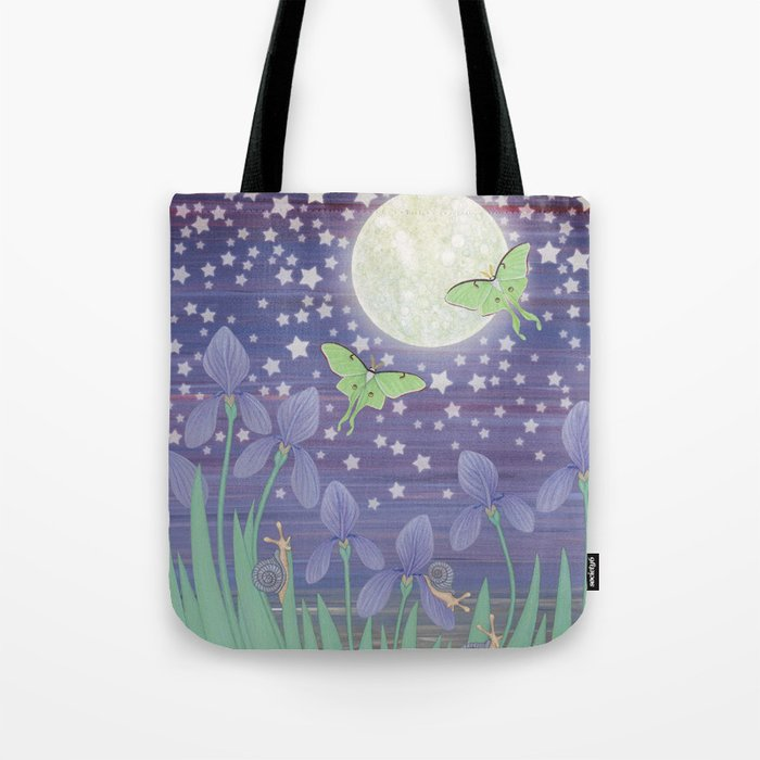 Moonlit stars, luna moths, snails, & irises Tote Bag