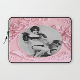 Femme Fatale - Pin Up - Pastel Pink Frame - Roses  Laptop Sleeve