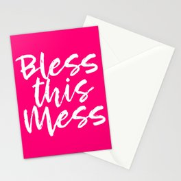 Bless This Mess - Hot Pink and White Stationery Cards
