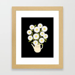 bouquet of camomiles in the vase on the black Framed Art Print