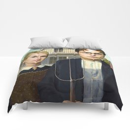 Dwight and Angela from the The Office in American Gothic Comforters