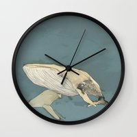 whales Wall Clocks featuring Whales by Mikael Biström