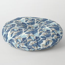 The Great Wave of Pug Pattern Floor Pillow