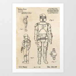 Boba Fett - Vintage Toy Patent Design Art Print