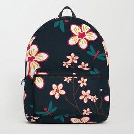 Cherry Blossom Season Dark Green Background Backpack