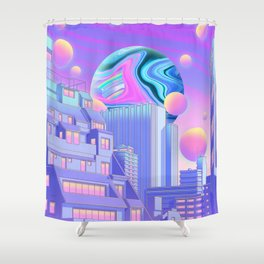 Neon Bubble City Shower Curtain