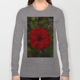 Vibrant Red Flower Long Sleeve T-shirt