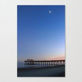 Moon over Tybee Island Pier Canvas Print