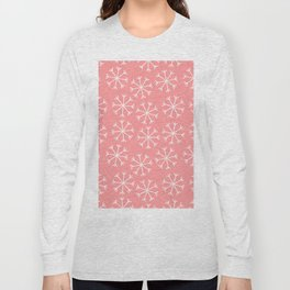 Modern hand painted coral white Christmas snow flakes Long Sleeve T-shirt