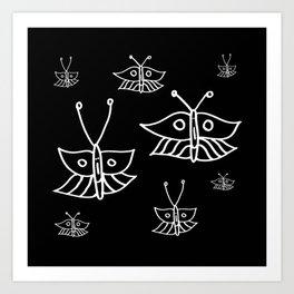 Butterflies in Black Art Print