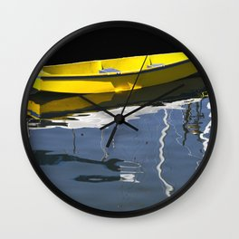 Yellow Boat in Victoria Harbor Wall Clock