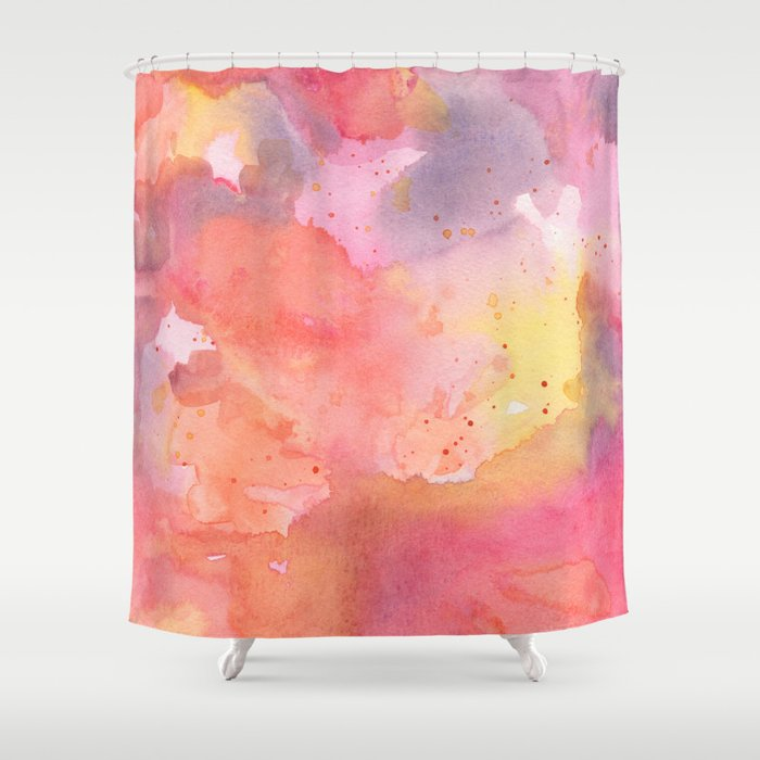 sunset color palette abstract watercolor painting shower curtain by