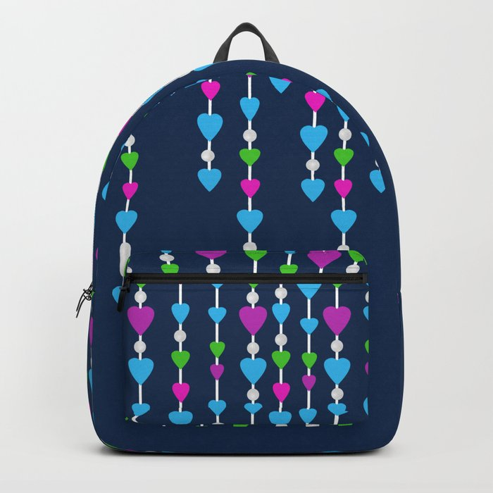 Pearl beads and hearts .  3 Backpack