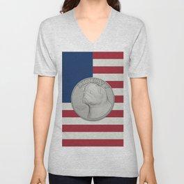 In Pug We Trust - Coin on USA flag Unisex V-Neck