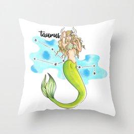 Taurus Mermaid Throw Pillow