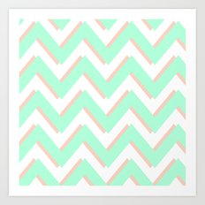 3D CHEVRON MINT/PEACH Art Print