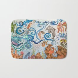 Ocean Zentangle Bath Mat