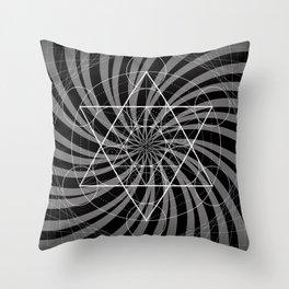 Metatron's Cube Grayscale Spiral of Light Throw Pillow