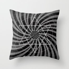 Metatron's Cube Grayscale Spiral of Light Throw Pillow
