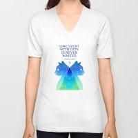 freud V-neck T-shirts featuring Freud by EtOfficina