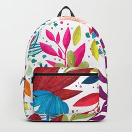 Exotic Bold Floral on White Backpack