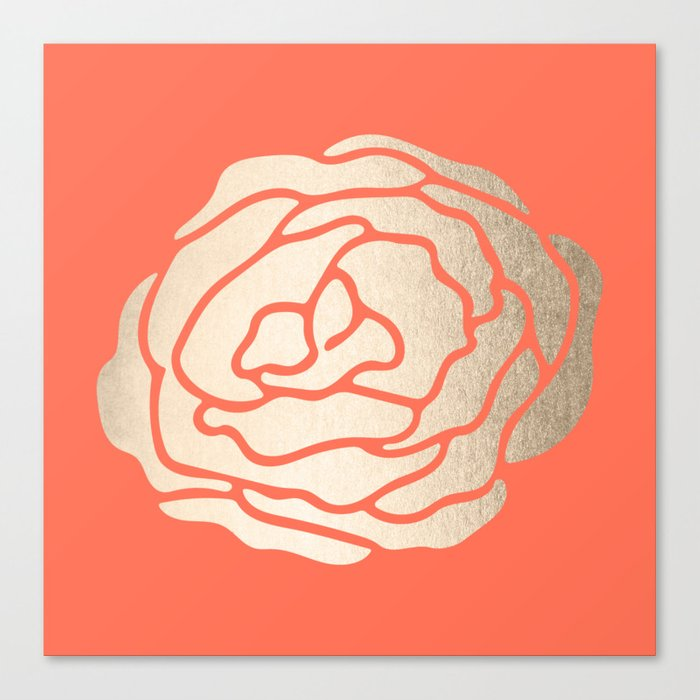 Rose White Gold Sands on Deep Coral Canvas Print
