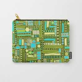 Mid-Century Modern Maze ~ Aqua & Forest Carry-All Pouch