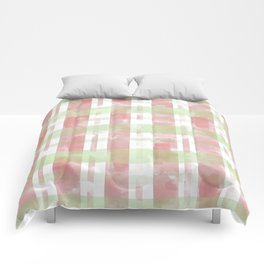 Pink and Green Watercolor Plaid Comforters