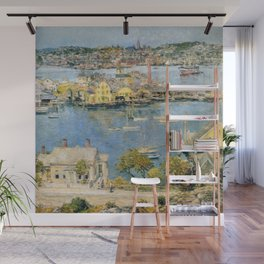 Classical Masterpiece 'Gloucester Harbor Landscape' by Frederick Childe Hassam Wall Mural