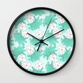 Fern-tastic Girls in Teal Wall Clock