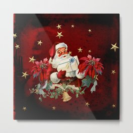 Santa Claus with gifts and christmas flower Metal Print