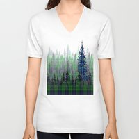 plaid V-neck T-shirts featuring Plaid Forest by LindaWexlerArt