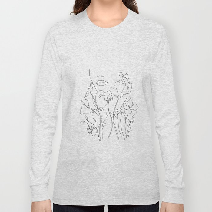 Minimal Line Art Summer Bouquet Long Sleeve T-shirt