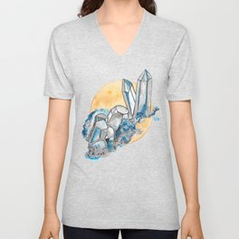 Blue Metallic Crystals Unisex V-Neck