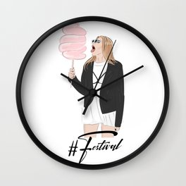 Festival girl cotton candy Wall Clock