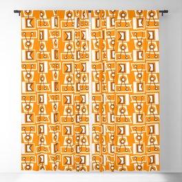 Vintage Tiki Print on Orange Blackout Curtain