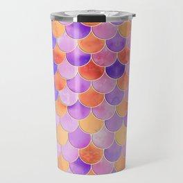 Sunset Mermaid Scales Pattern Travel Mug