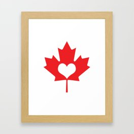 Canada Day Maple and Heart Framed Art Print