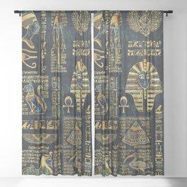 Ancient Egyptian Hieroglyph Sphinx Pyramid Sheer Curtain