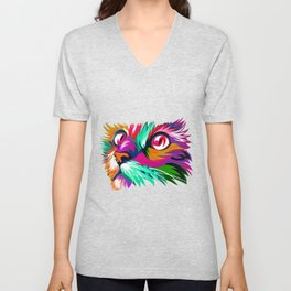 Cute Cat Graphic Colorful Paint Women Tshirt for Cat Lovers Unisex V-Neck