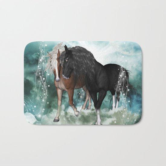 Wonderful couple horses Bath Mat