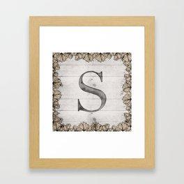 Neutral Monogram S Framed Art Print