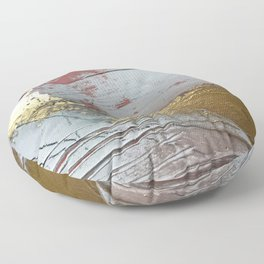 Darling [2]: a minimal, abstract mixed-media piece in pink, white, and gold by Alyssa Hamilton Art Floor Pillow