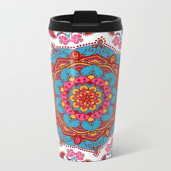 Colourful Indian Flower Patterned Mandala Red Pink & Blue Metal Travel Mug
