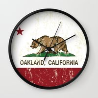 oakland Wall Clocks featuring Oakland California Republic Flag Distressed  by NorCal