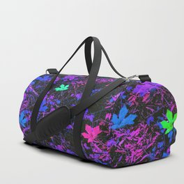 colorful maple leaf with purple and blue creepers plants background Duffle Bag