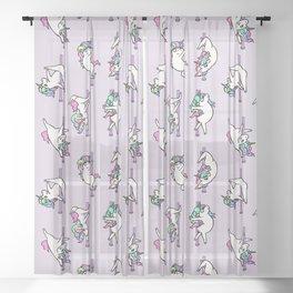 Unicorn Pole Dancing Club Sheer Curtain