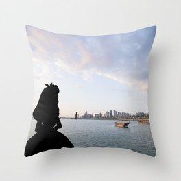 when Alice visit Qatar Throw Pillow