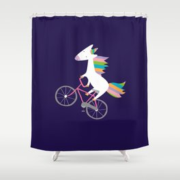 bike unicorn  Shower Curtain