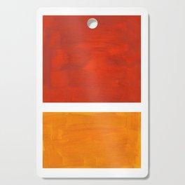 Burnt Orange Yellow Ochre Mid Century Modern Abstract Minimalist Rothko Color Field Squares Cutting Board